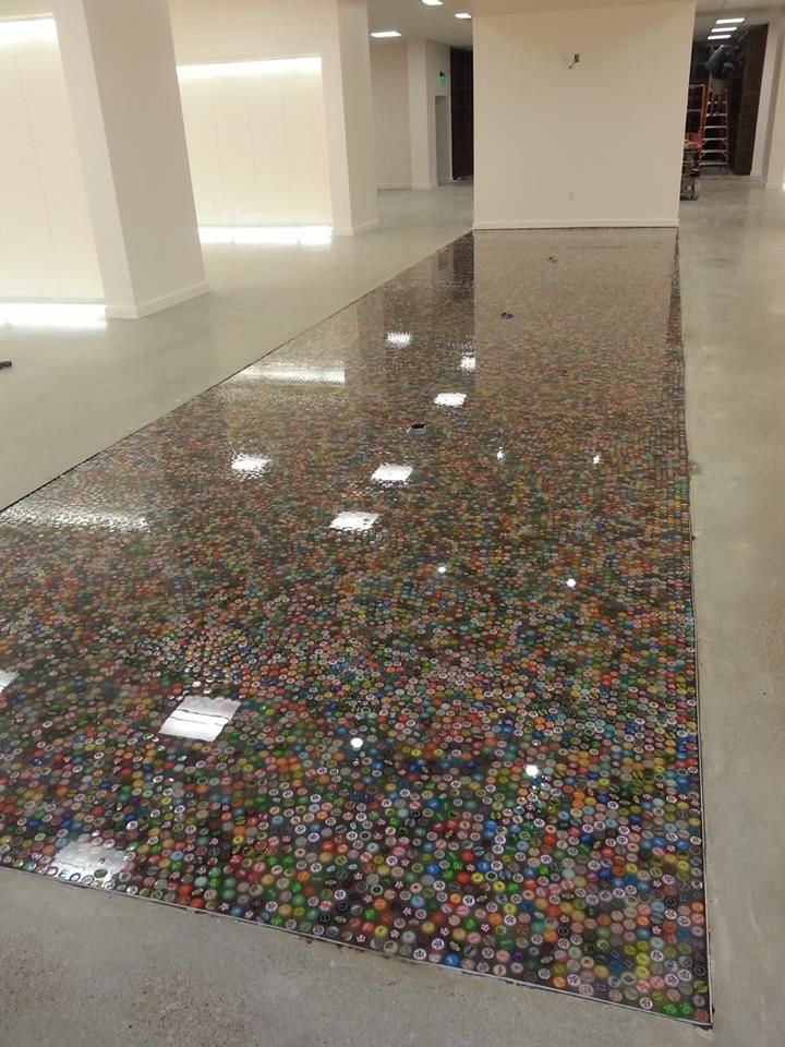 Bottle Cap Floor I Would Love This For The Bathroom Bottle Cap
