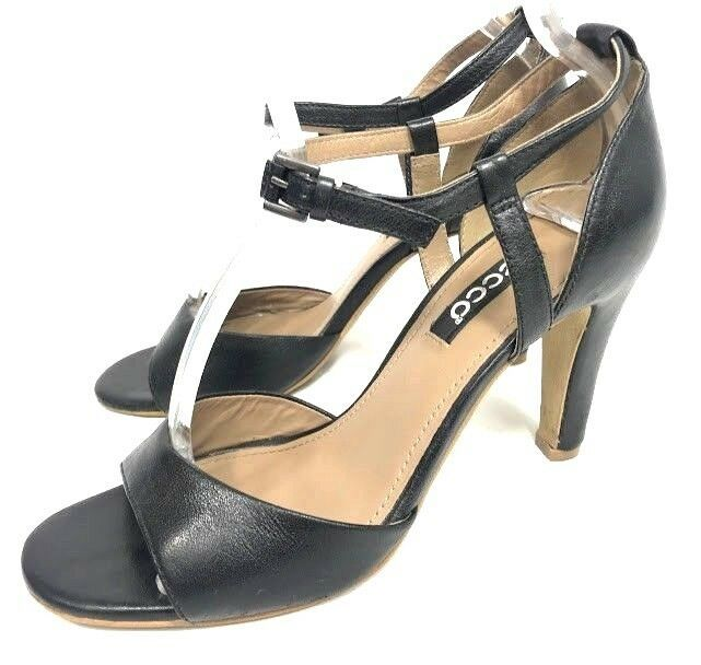 d135a175a043 Ecco Womens Heels Black Size 38 US 7 - 7.5 Leather Peep Toe Ankle Strap  Career  ECCO  PumpsClassics  Work