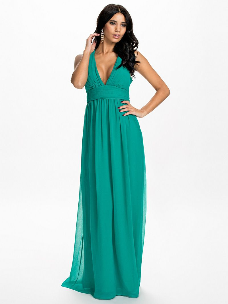 Green V Neck Sleeveless Chiffon Backless Party Dress - Lalalilo.com ...