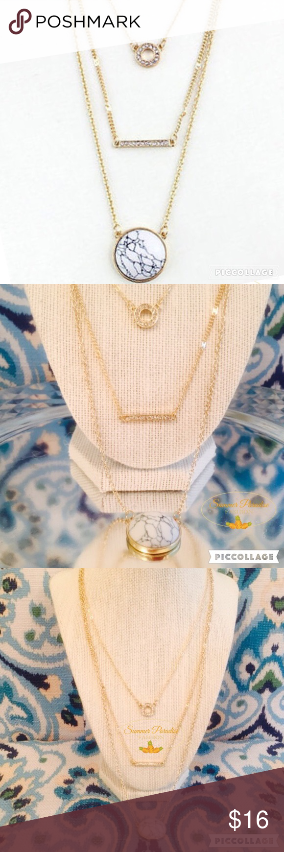 💠SALE💠NWT Triple Strand Crystal Marbled Necklace 🎉BUY ANY 2 ITEMS & GET 3rd ITEM $10 & under FREE!🎉. Gold plated layered crystal & white marbled necklace with lobster claw clasp & 2 inch extender.                                                        💠Bundle to Save $$$.                                           💠FREE GIFT with every purchase over $10.           TAGS: Crystal necklace, gold layer necklace, marble necklace Summer Paradise Jewelry Necklaces