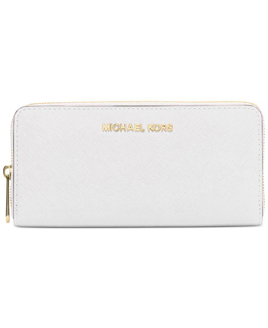 56e1b225c5e3 MICHAEL Michael Kors Travel Zip Around Continental Wallet - Optic White /  Gold Hardware