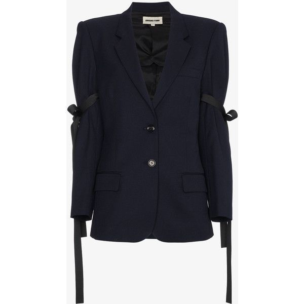 Shushu/Tong Blue Bow Blazer ($925) ❤ liked on Polyvore featuring outerwear, jackets, blazers, blue, wool blazer, wool jacket, blue blazer jacket, blue wool jacket and blazer jacket