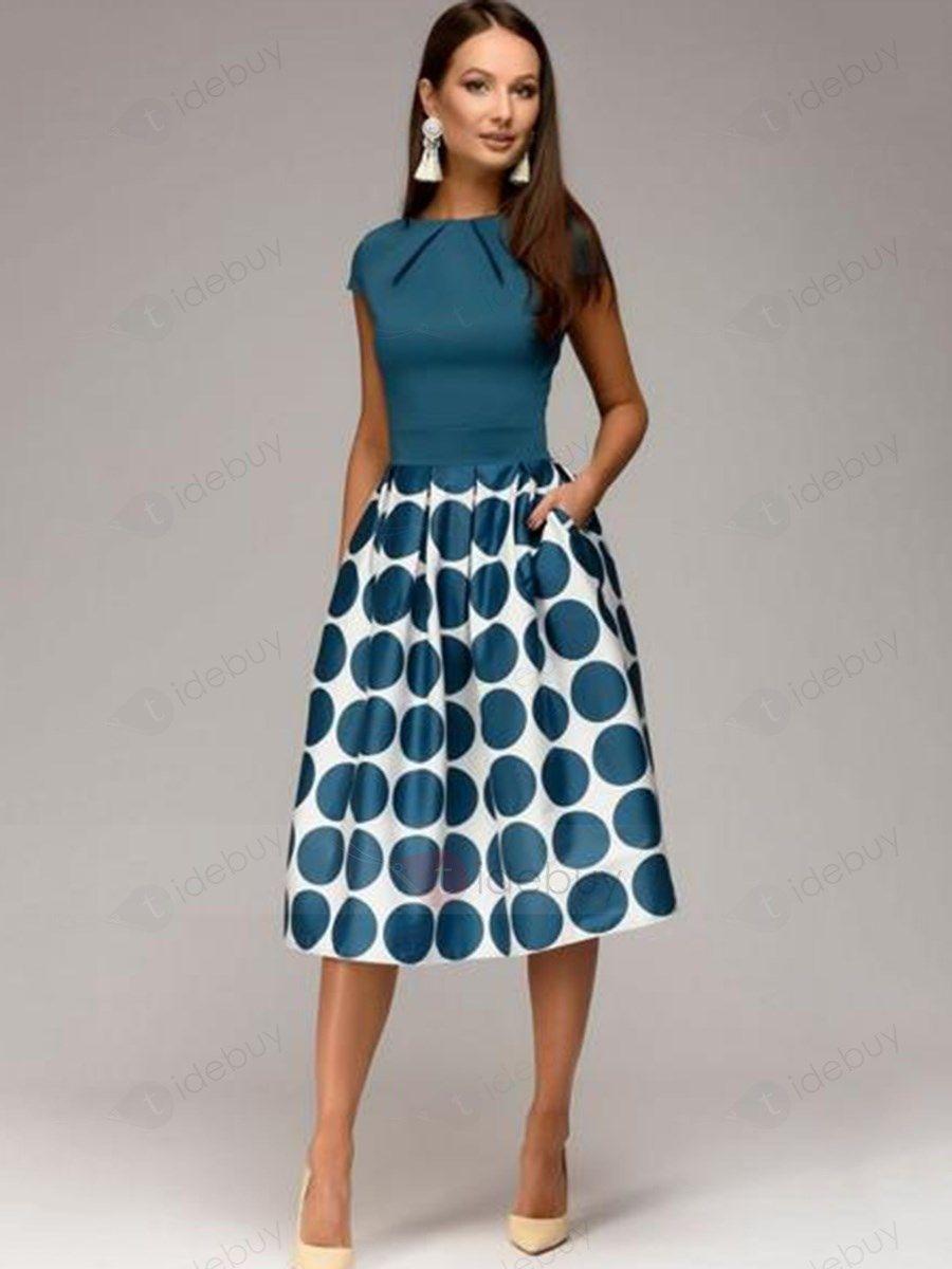 A-Linie Patchwork Punkt Muster Vintage Kleid : Tidebuy.com de