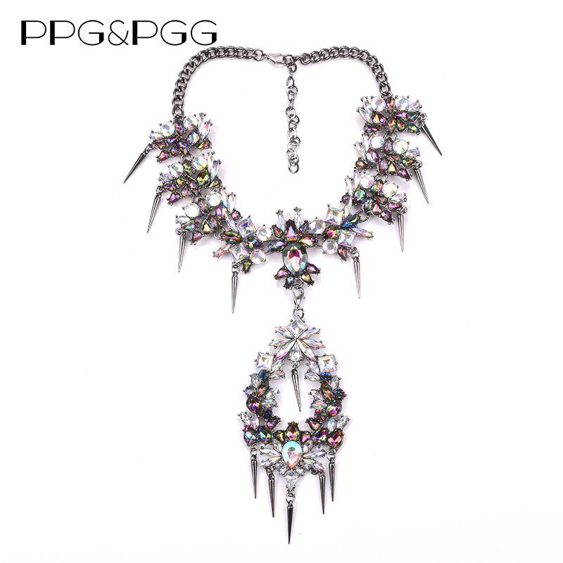 PPG&PGG Luxury Crystal Chokers Pendant Necklace Punk Style Hot Sale Bohemian Wedding Women Statement Jewelry Women