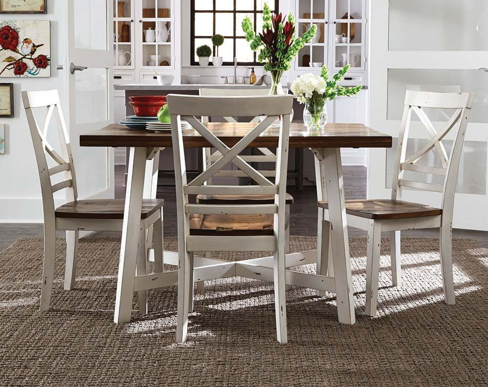 Great White Dining Table, Distressed Wood Seats | Amelia 5 Piece Dining Set |  American Freight