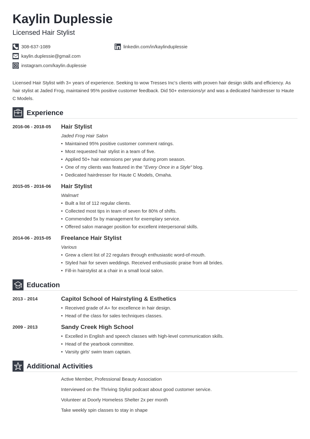 Hair Stylist Resume Example Template Iconic Resume Examples Job Resume Examples Resume Layout