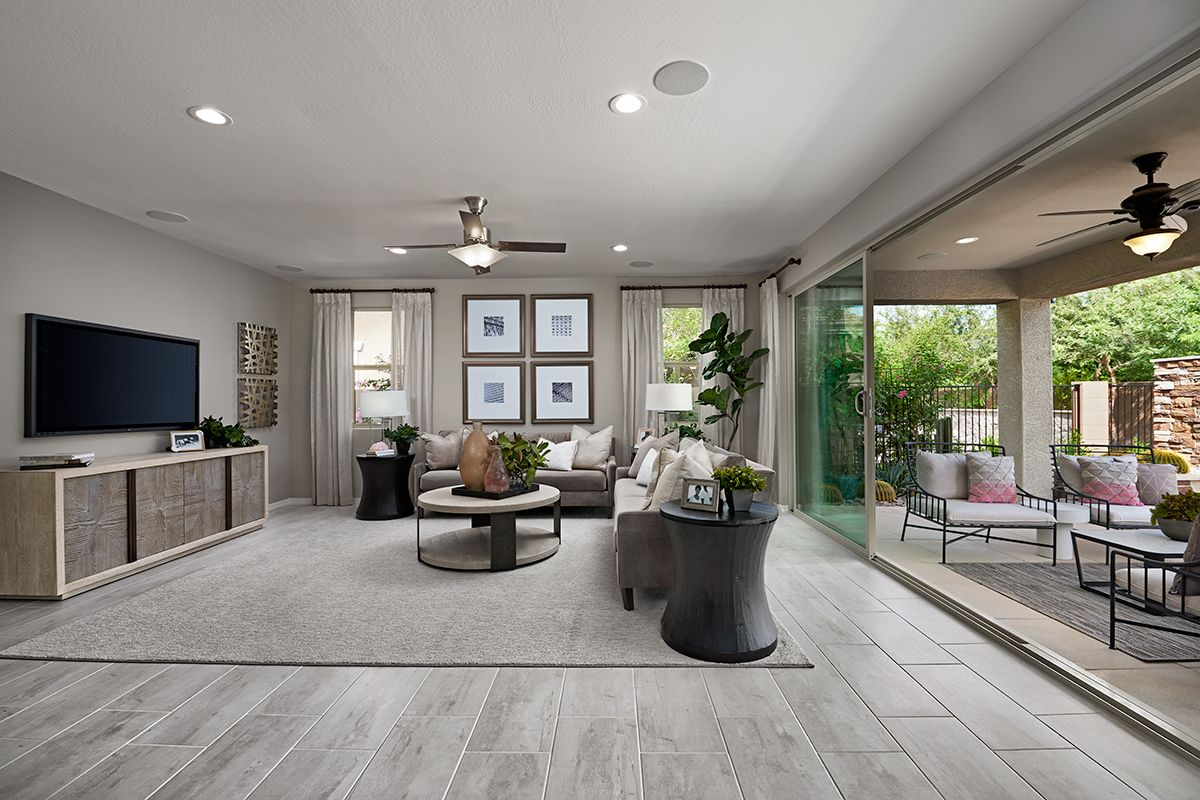 Attractive Multi Slide Doors Open To A Relaxing Covered Patio Darius Model Home Great Room Surprise A Richmond American Homes Open Family Room Model Homes