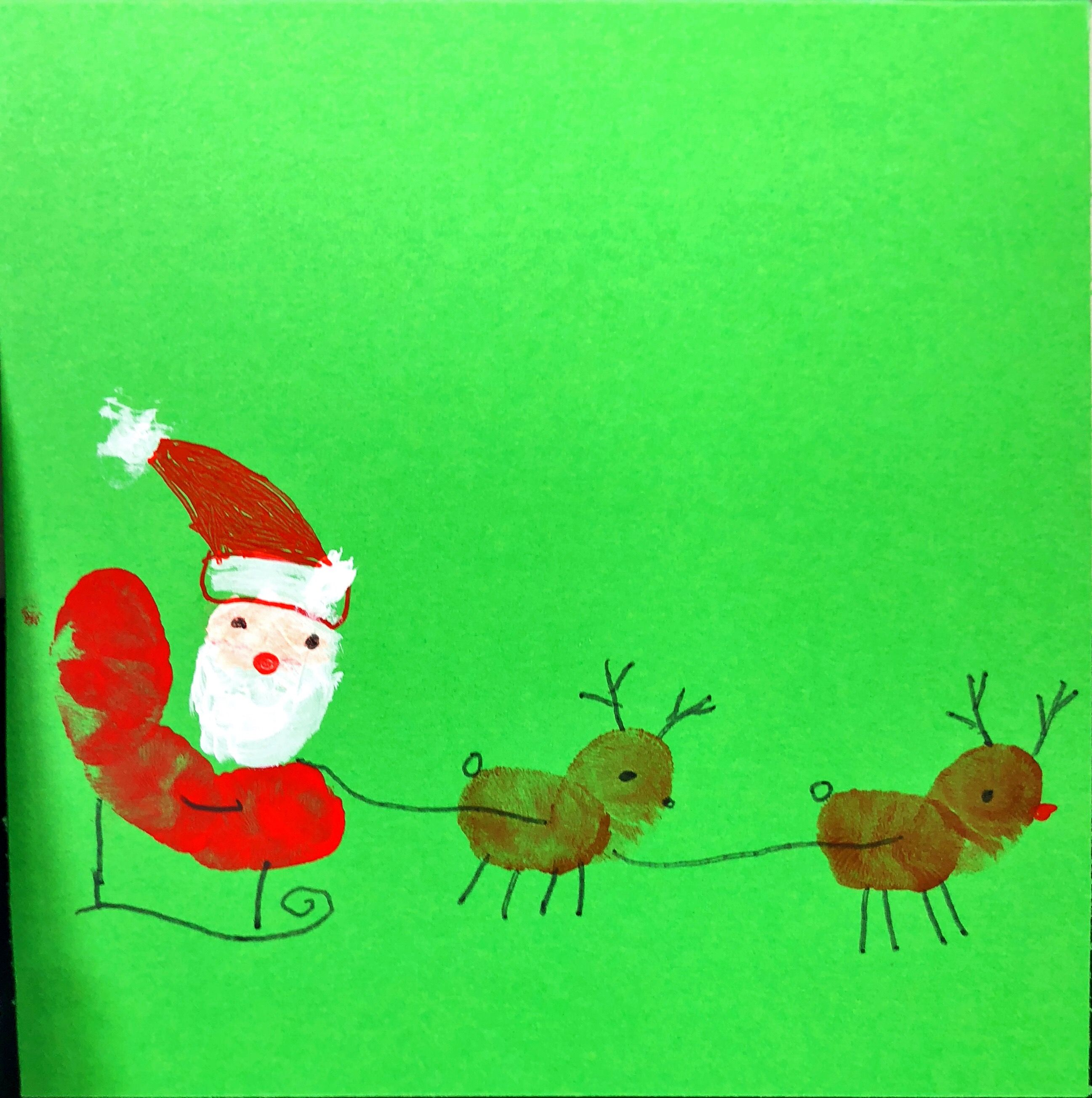 Finger Print Christmas Card Kids Ticked Off The List Pinterest
