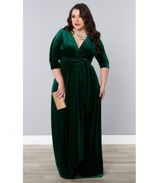 Plus Size Green Velvet Luxe Sleeved Wrap Maxi Dress | Bridesmaid ...