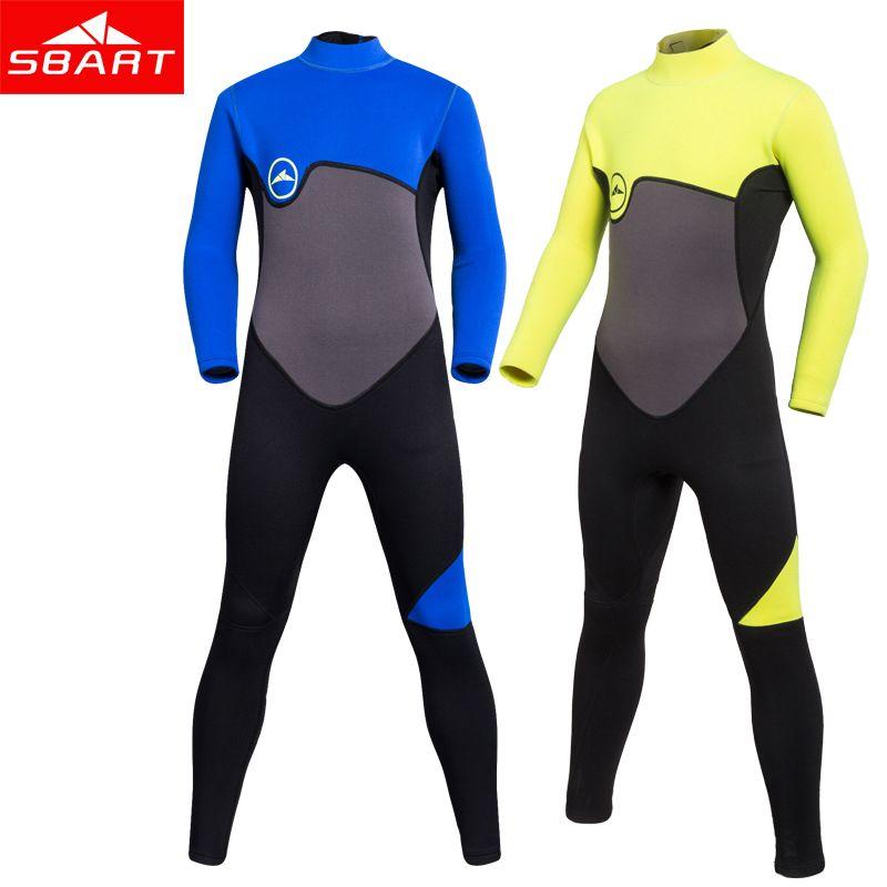 Kids 2mm Neoprene Wetsuit One-Piece Long Sleeve UV Protection Zipper Diving Suit