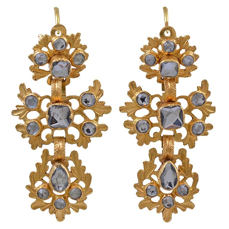 Antique 18k Gold And Mirrored Glass Spanish Earrings From A Unique Collection Of Vintage Chandelier At