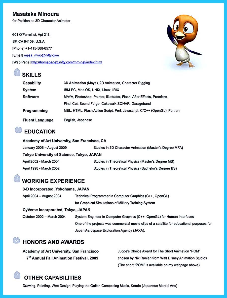 Sample Resume Templates Animation Resume Templates If You Like To Work In Creative Art