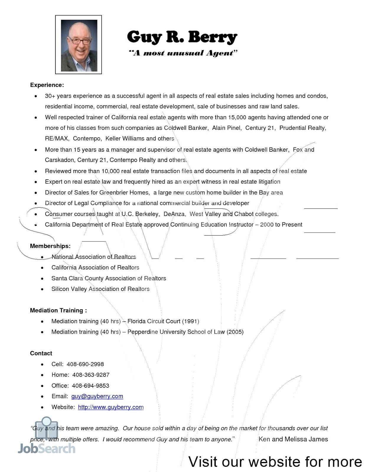 Real Estate Salesperson Resume Objective 2020 in 2020