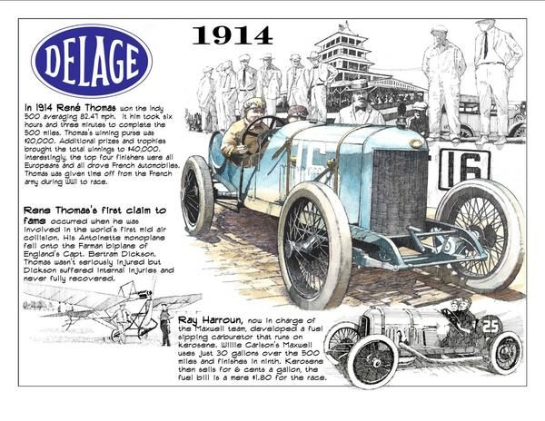 Rene Thomas Delage 1914 First Super Speedway Vintage Racing