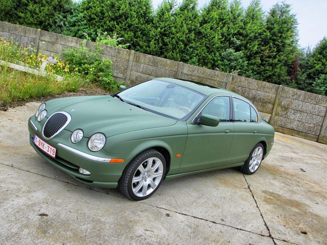Jaguar s type military green carwrap by signaturewraps be
