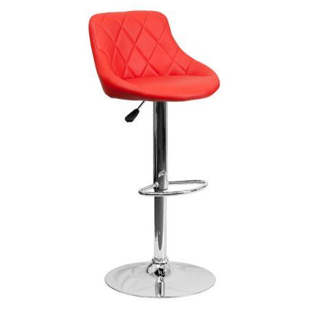 Flash Furniture Contemporary Vinyl Bucket Seat Adjustable Height Barstool with Chrome Base, Multiple Colors, Red