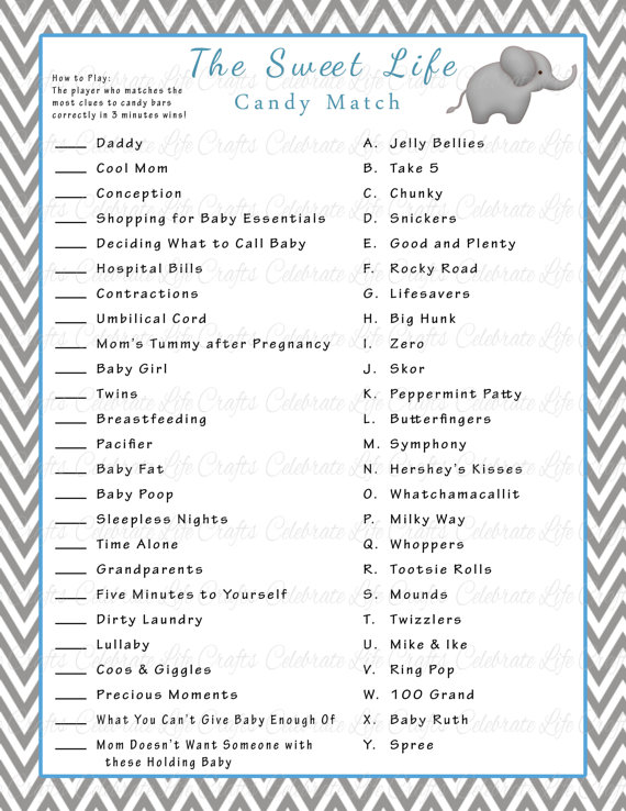 picture about Candy Bar Game Printable titled Child Shower Cute Existence Sweet Bar Sport Activity - Do it yourself Printable