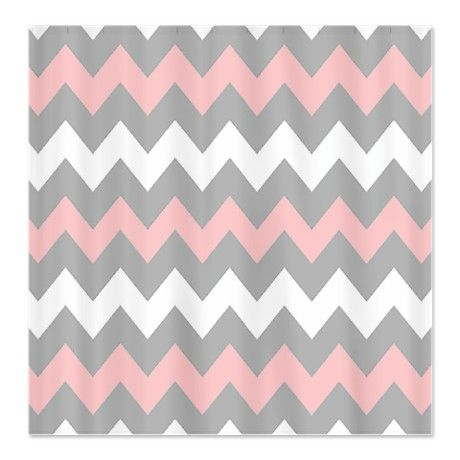 Pink And Gray Chevron Stripes Shower Curtain For The