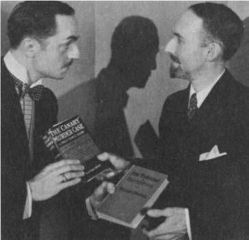 Two impressive mustaches meet and exchange books. S.S. Van Dine (right) and his creation Philo Vance (aka the wonderful dreamy Powell)