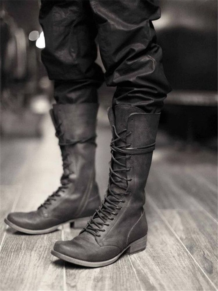 Men Mid-Calf Boots Lace Up Riding Long