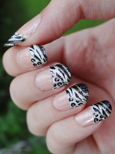 Ida-Marian kynnet / Leopard and zebra animal pattern french manicure / #Nails #Nailart