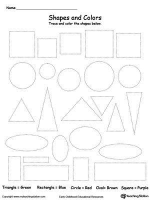 shapes and color the different shapes shapes worksheets mathematik geometrie. Black Bedroom Furniture Sets. Home Design Ideas