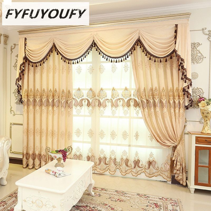 2 Color European Luxury Elegant Embroidered Curtain And
