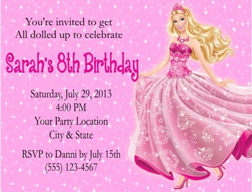 Barbie Birthday Party Invitation Birthday Party Invitations