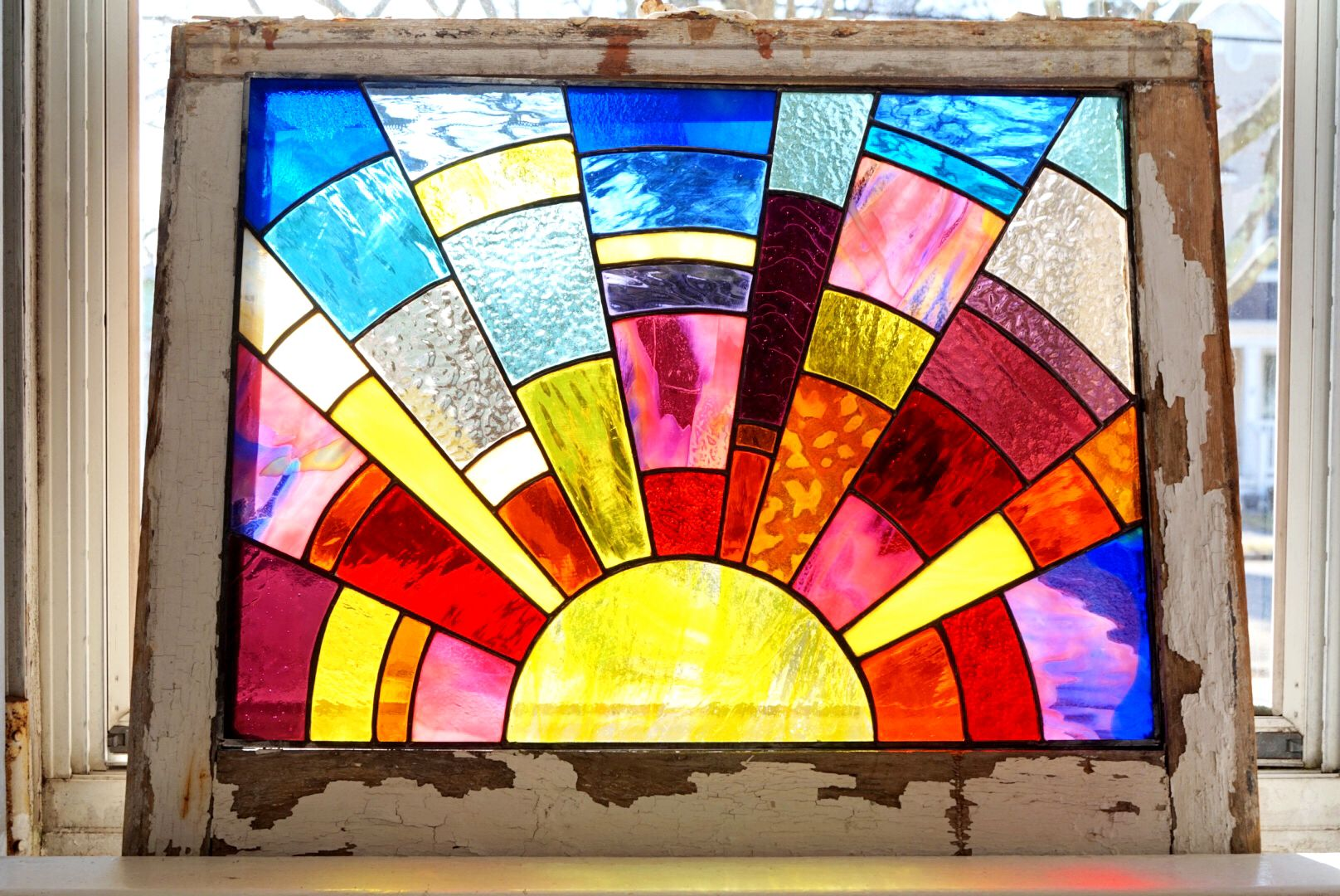 The Sunrise Stained Glass Window Panel Vintage Art Glass