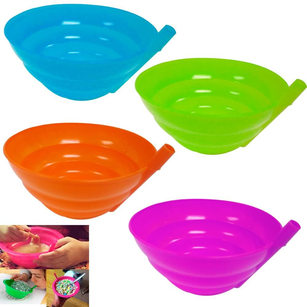 4 in one color Cereal Bowl With Straw For Kids Blue