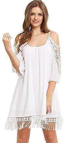 Milumia Women's Summer Cold Shoulder Crochet Lace Sleeve Loose Beach Dress #crochetbeachdress