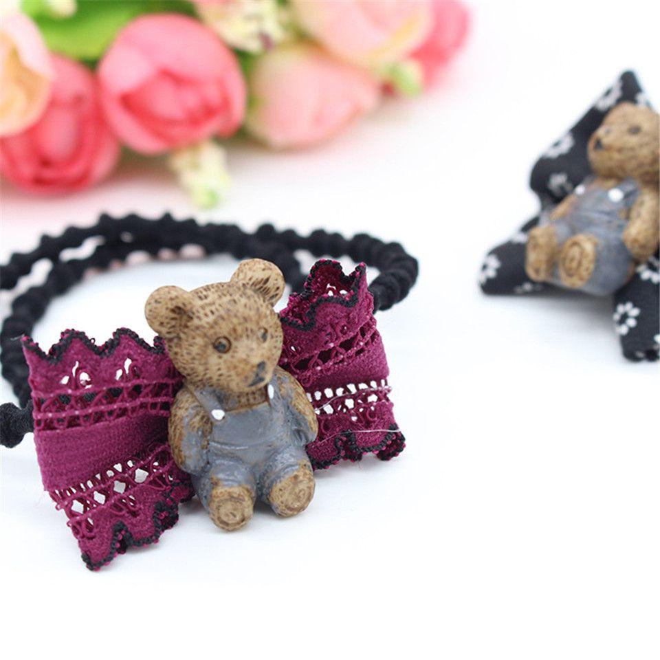 Women Fashion Bowknot Bear Elastic Hair Band Headband Girls lady Elegant   Animal Headwear Hair Accessories Handmade
