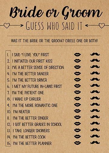 Photo of Guess Who Said It, Bridal Shower Games Printable, Bridal Shower Game Idea, Bridal Shower Instant Download, Wedding Game, He Said She Said