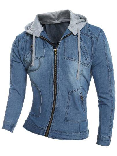 Shearling Lapel Thicken Warm Slim Men's Denim Jacket | Denim jackets