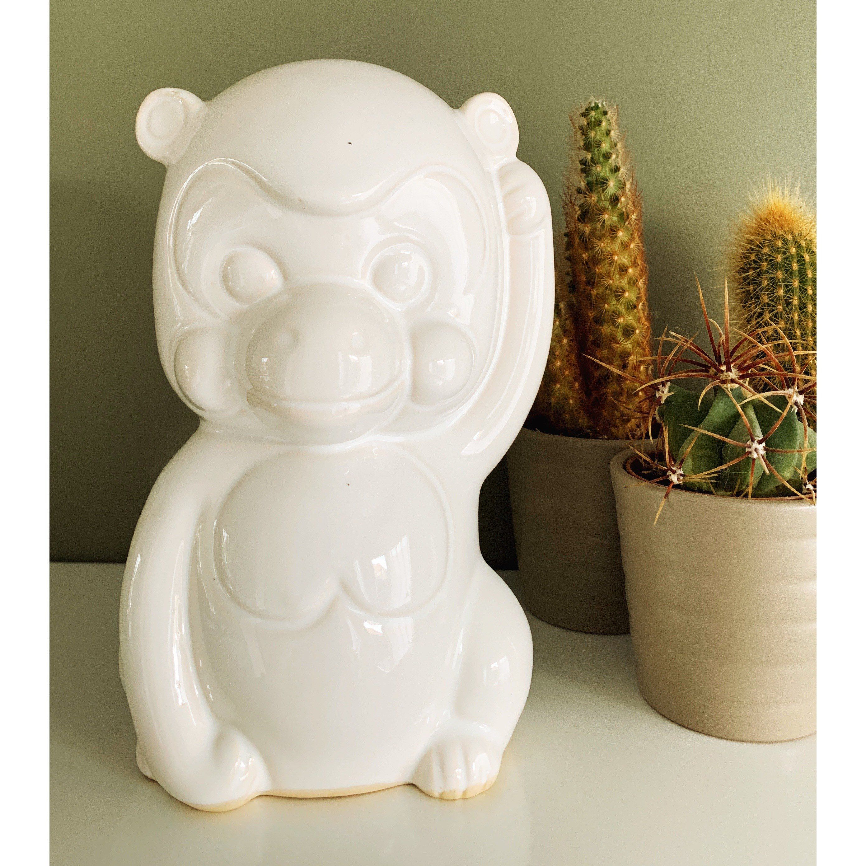 Vintage White Ceramic Monkey Figurine #woonaccessoires
