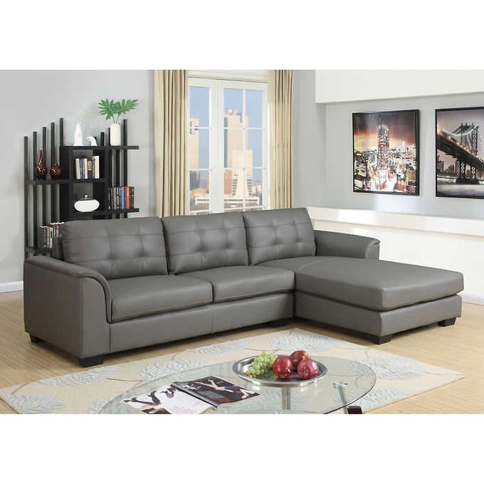 Terrific Montello Grey Leather Air Fabric Sofa With Right Hand Facing Cjindustries Chair Design For Home Cjindustriesco