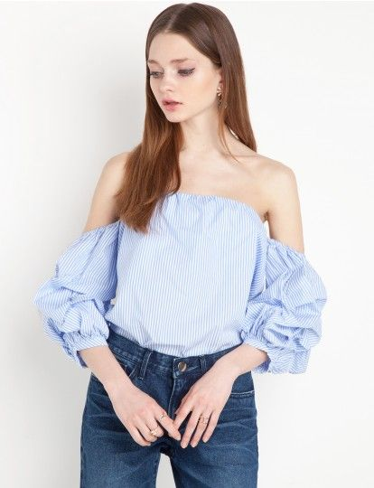 Ruched Balloon Sleeve Off the Shoulder Stripe Top #fashion #pixiemarket