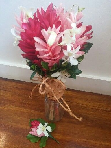 Red Pink Gingers With White Orchid Ginger Flower Wedding Flowers Flower Arrangements Simple