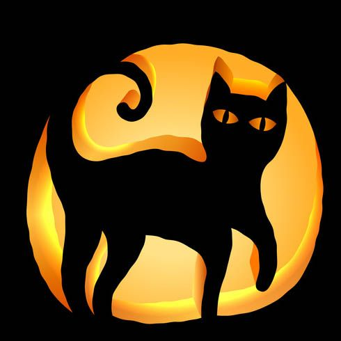 Black cat pumpkin carving stencil download free template for Cat pumpkin designs to carve