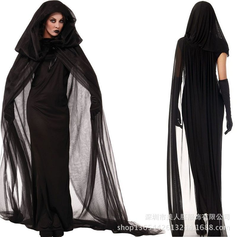 Womens The Haunted Costume Hooded Cape Ghost Costume Bride Hooded Cape Cloak Adult Costume Funny Cosplay Party