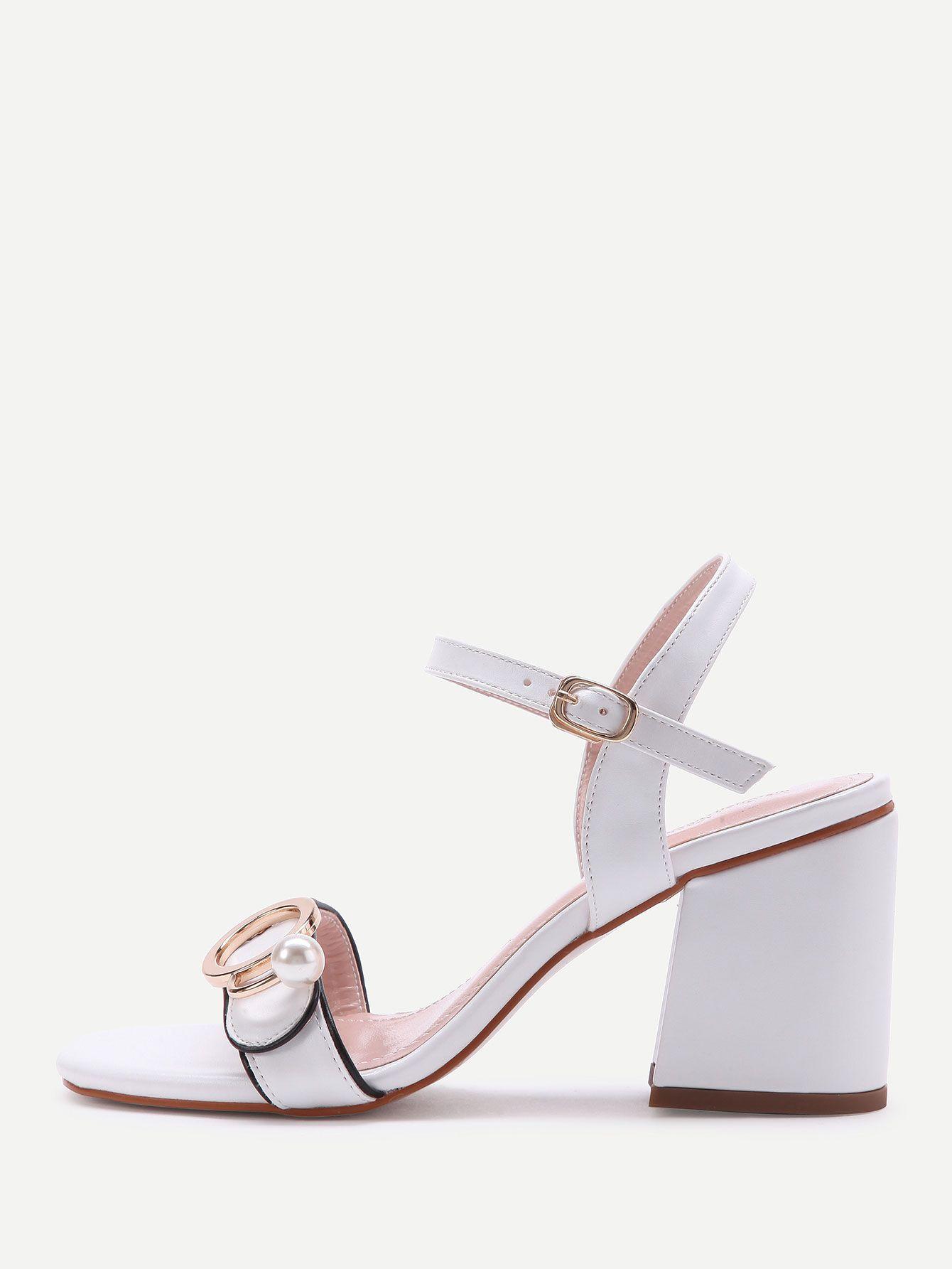 cd0d2466352f6 Shop Metal Buckle Block Heels Sandals With Faux Pearl online. SheIn offers  Metal Buckle Block