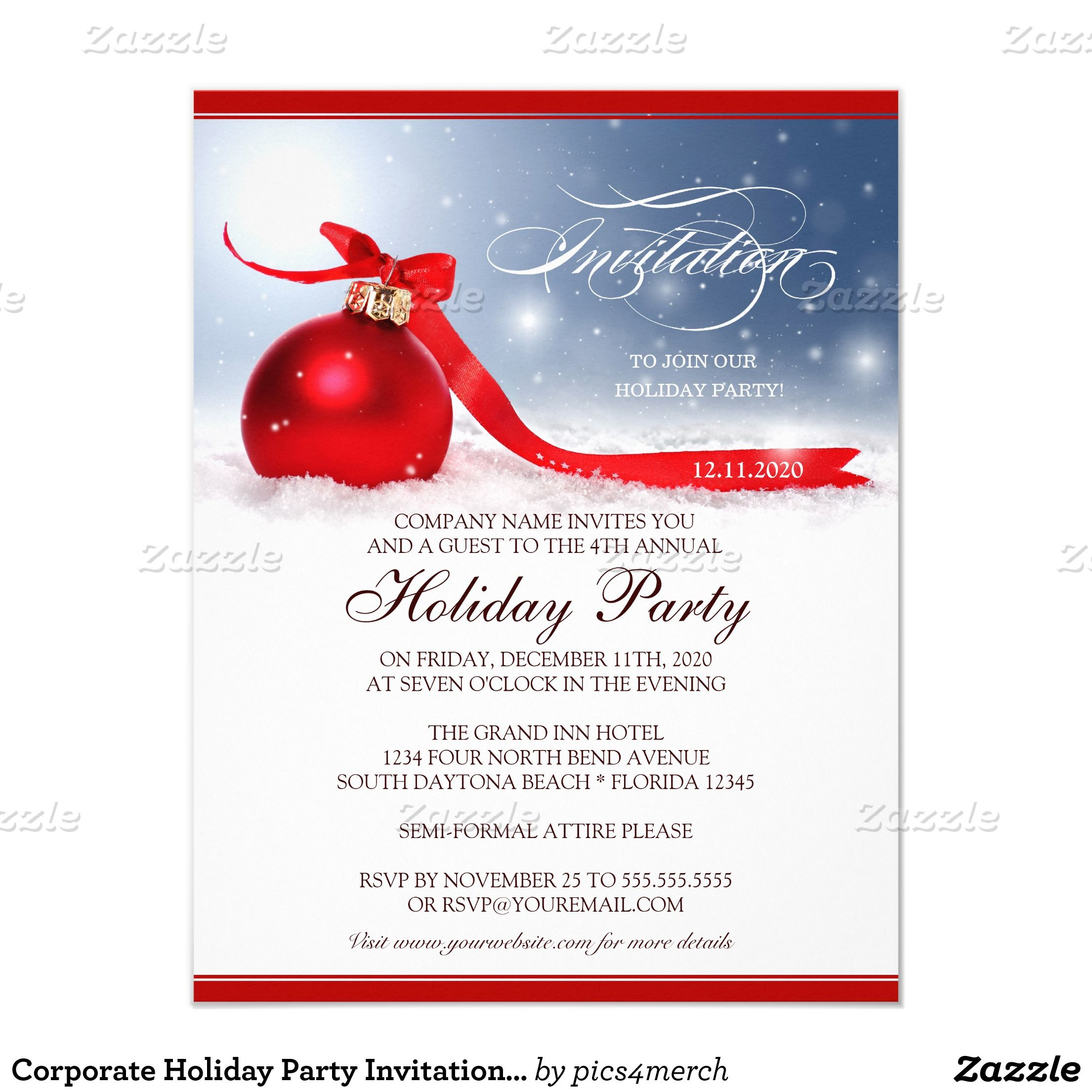 Corporate Holiday Party Invitation Template | Party invitation ...