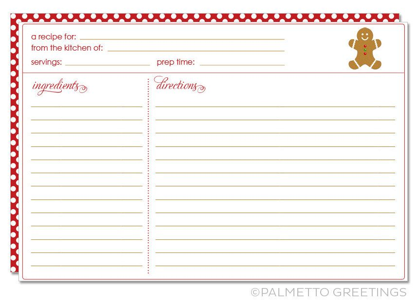 Printable Recipe Card With Christmas Holiday Theme Cookie Exchange Gingerbread Man Recipe Cards Template Holiday Recipe Card Holiday Recipe Card Template