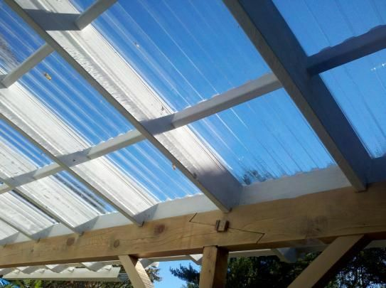 Suntuf 26 In X 12 Ft Polycarbonate Roofing Panel In Clear 101699 The Home Depot Patio Roof Pergola With Roof Patio