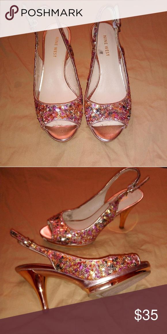 Nine West sequin heels sz 5   Sequin