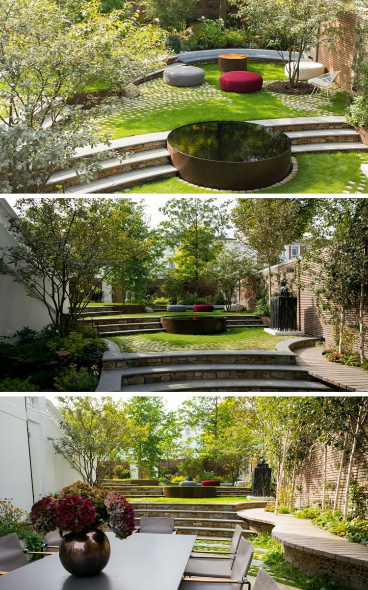 Terrasse Sur Terrain En Pente Et Jardin En Pente Poufs Design