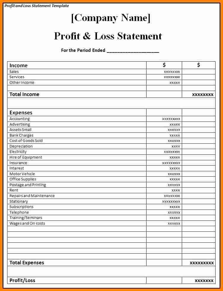 P L Statement Template Beautiful Profit And Loss Statement