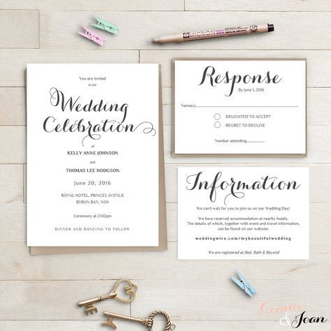 Wedding invitation suite - Instant Download DIY wedding - information templates