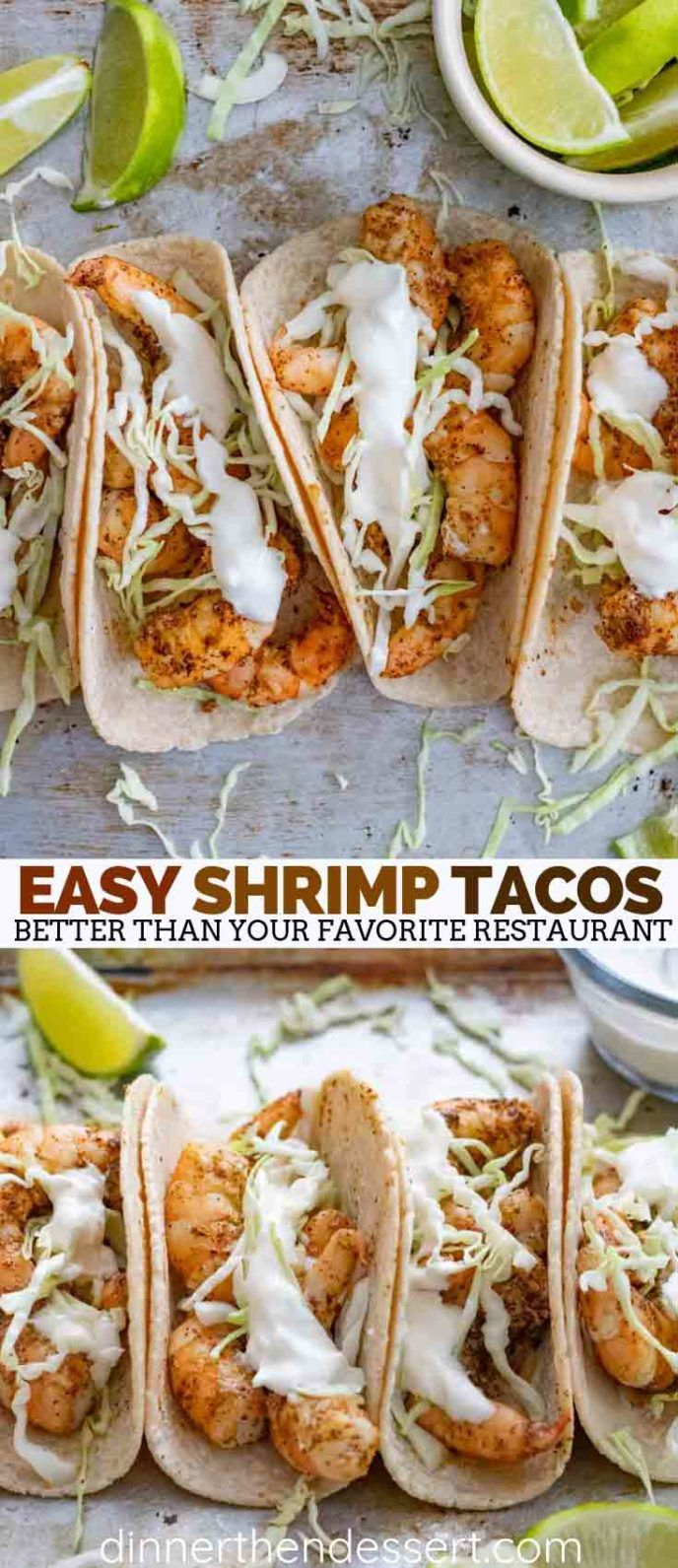 Shrimp tacos made with taco seasoning and topped with cabbage and sour cream are a quick and easy dinner that is perfect for healthy weeknight meals! #shrimp #shrimptacos #tacos #mexican #mexicanfood #easyrecipes #dinner #quickrecipes #weeknightmeals #dinnerthendessert #shrimpseasoning
