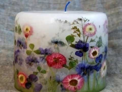 Diy Pressed Flower Candle Diy Candles With Flowers Pressed